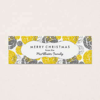 Mod Silver and Gold Holiday Christmas Gift Tag