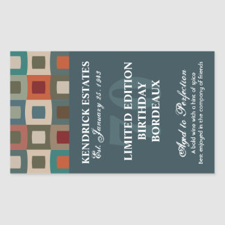 Mod Squares Birthday Wine - Blue (750ml) Sticker
