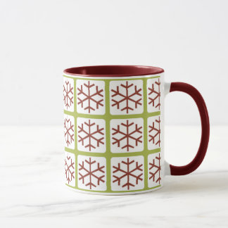 Mod Style Red Green Snowflake Pattern Holiday Mugs