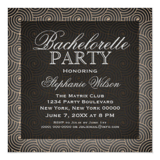 """Mod Swirls Bachelorette Party Invite, Beige 5.25"""" Square Invitation Card"""