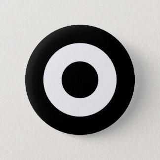 Mod target button, black and white 2 inch round button