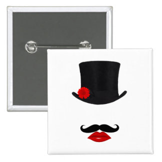 Mod Top Hat Lady With Mustache 2 Inch Square Button