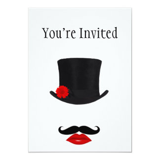 Mod Top Hat Lady With Mustache Card