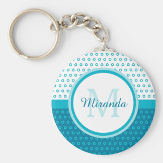 Mod Turquoise Blue Polka Dots Monogram With Name Keychain
