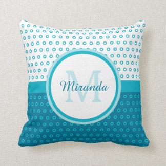 Mod Turquoise Blue Polka Dots Monogram With Name Throw Pillow