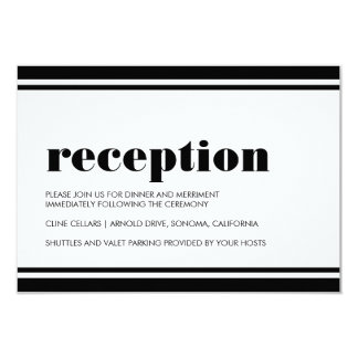 "Mod Typography Black and White Wedding Reception 3.5"" X 5"" Invitation Card"
