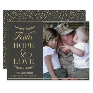 Mod Typography Gold photo Holiday Greeting Card