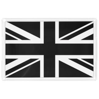 Mod Union Jack ~  Black and White Acrylic Tray