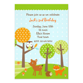Mod woodland Owl BIrthday Party Invitations