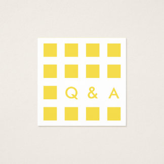 mod yellow squares square business card