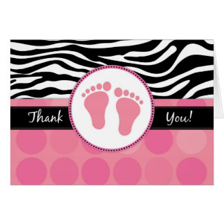 Mod Zebra Print Folded Baby Shower Thank You Cards