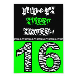 """Mod Zebra Print Sweet Sixteen [green] 5"""" X 7"""" Invitation Card"""