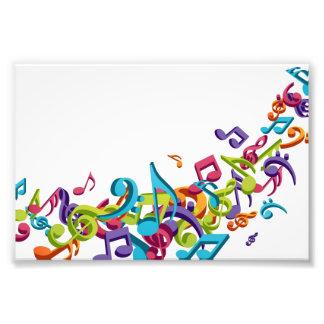 Mode colorée fraîche de musique de notes et de bru impression photo