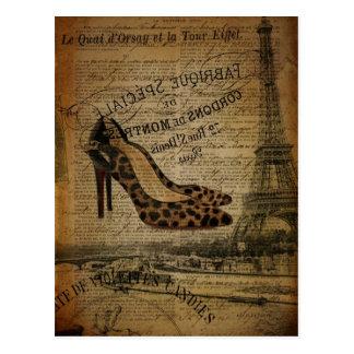 mode girly vintage élégante de Paris Carte Postale