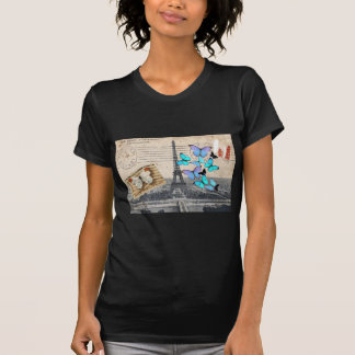 mode vintage de papillon de tour de Paris Effiel T-shirts