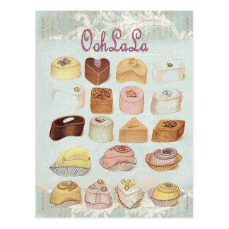Mode vintage de Paris de chocolat de tentation d'O Cartes Postales