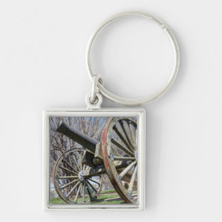 Model 1857 - Napolean Howitzer Silver-Colored Square Keychain
