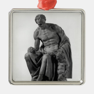 Model for a monument to Jean-Jacques Rousseau Silver-Colored Square Ornament