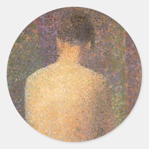 Model From Behind by Seurat, Vintage Pointillism Round Sticker