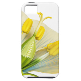 Model of flower with stamens and pistils on white iPhone 5 cover