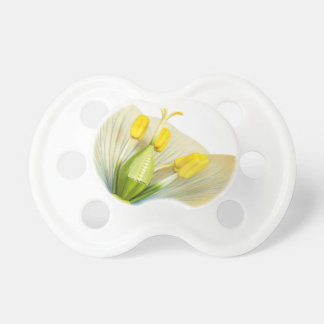 Model of flower with stamens and pistils on white pacifier