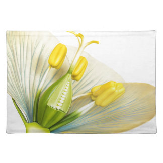 Model of flower with stamens and pistils on white placemat