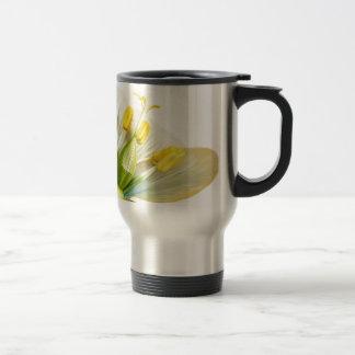 Model of flower with stamens and pistils on white travel mug