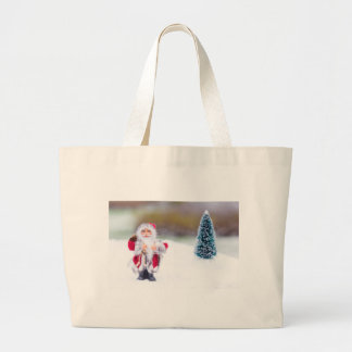 Model of Santa Claus standing in white snow Large Tote Bag