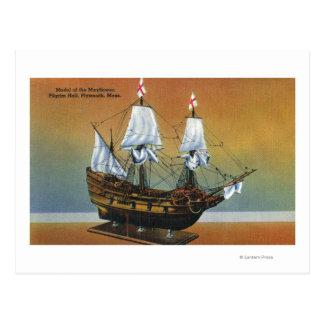 Model of the Mayflower in Pilgrim Hall View Postcard