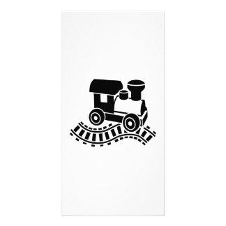 Model railroad rail locomotive photo card
