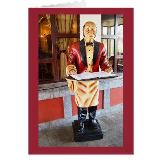Model waiter greeting card