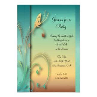 Modèle bleu élégant de partie de papillon de carton d'invitation  12,7 cm x 17,78 cm