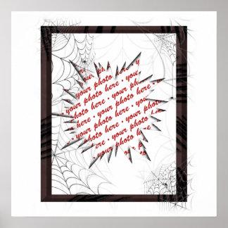 Modèle de cadre de photo de toiles d'araignée poster
