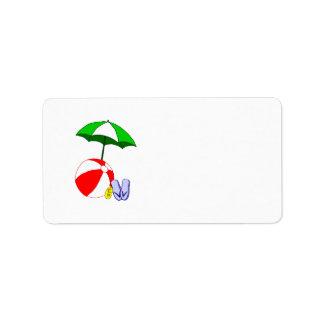 Modèle de parapluie de piscine de ballon de plage étiquette d'adresse