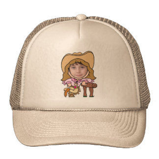 Modèle drôle de visage de photo de cow-girl casquette de camionneur