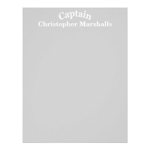 Modèle fait sur commande de capitaine en-tête de lettre customisable