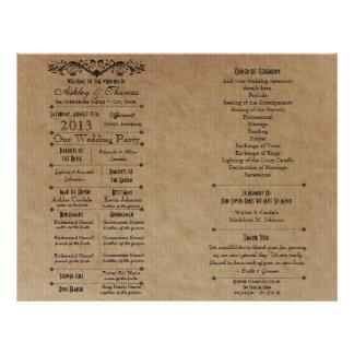 Modèle fait sur commande de programme de mariage p prospectus 21,6 cm x 24,94 cm