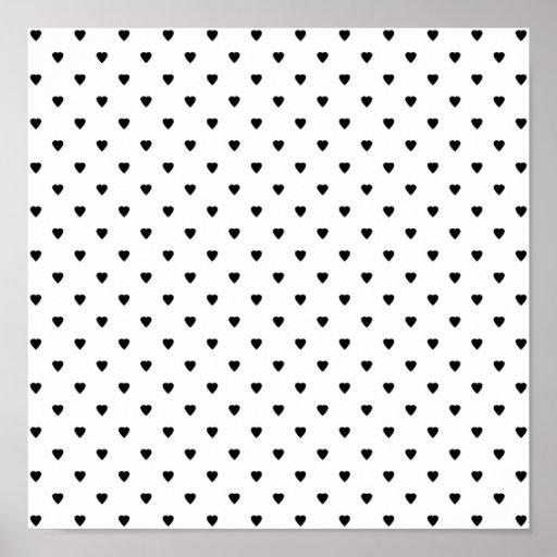 Modèle noir et blanc de coeurs posters