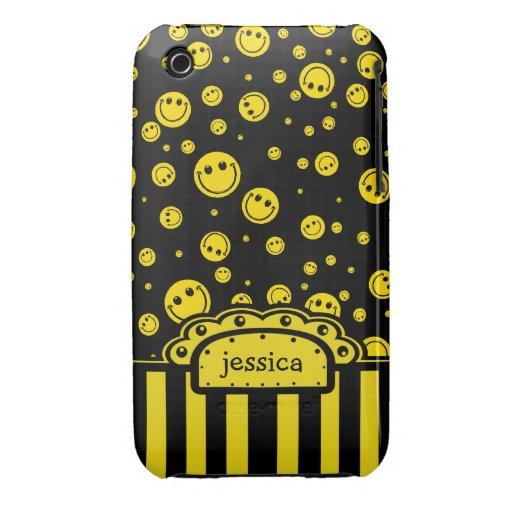 Modèle nommé souriant de PolkaDot Coque iPhone 3