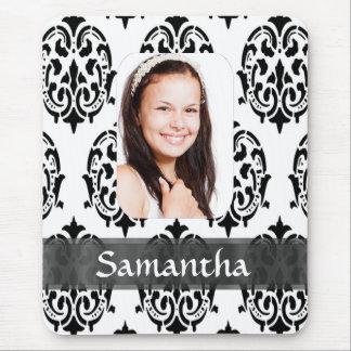 Modèle photo noir et blanc de damassé tapis de souris
