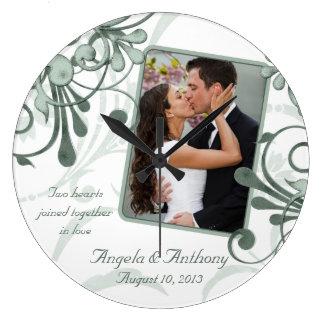 Modèle photo personnalisé floral blanc vert grande horloge ronde