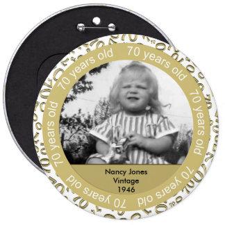 Modèle photo : soixante-dixième Or d'anniversaire Macaron Rond 15,2 Cm