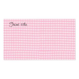 Modèle rose d'arrière - plan de tissu de damier cartes de visite professionnelles
