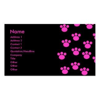 Modèle rose et noir lumineux d'empreinte de patte carte de visite