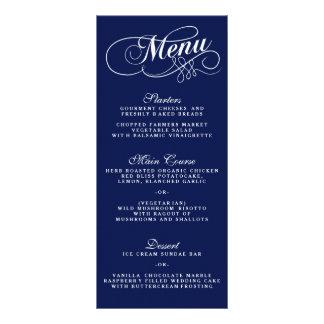 Modèles élégants de menu de mariage de bleu marine cartes doubles customisables