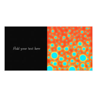 Moder Design Turquoise Dots on Bright Orange Photo Card