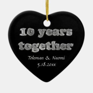 Modern 10th Wedding Anniversary | 10 Years Ceramic Ornament