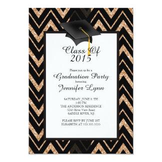 Modern 2015 Gold Black Graduation Party Invitation