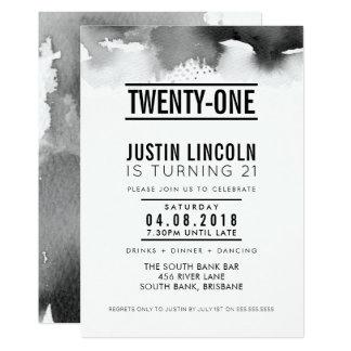 MODERN 21ST birthday party INVITE type black