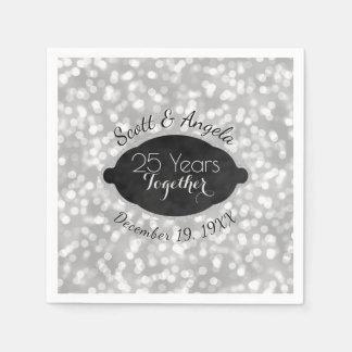 Modern 25th Silver Wedding Anniversary Personalize Napkin